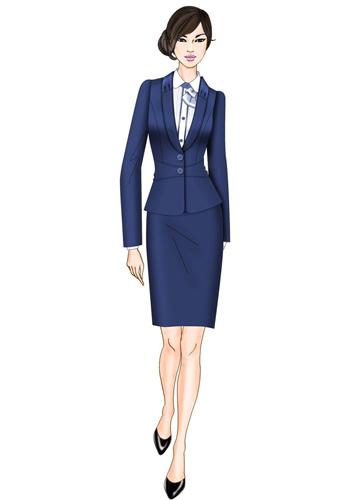 蓝色时尚白领制服
