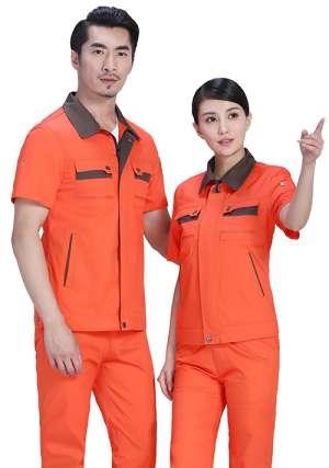 桔红领子拼色工作服
