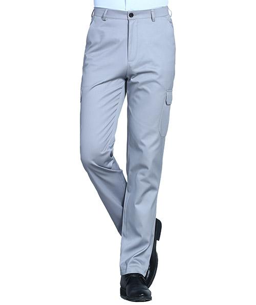 银灰贴兜工裤