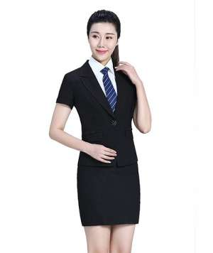 翻领短袖上衣+短裙套装