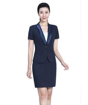 藏蓝西装+短裙套装