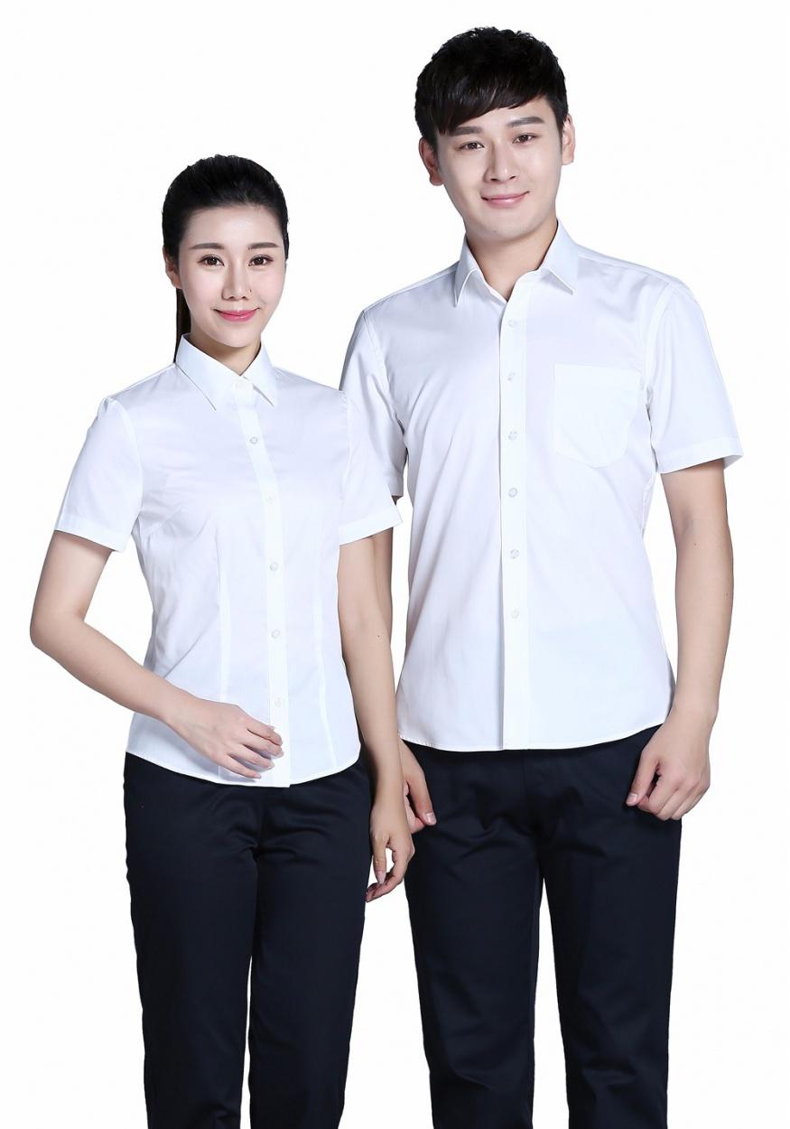 白色男全棉白色正装短袖衬衫
