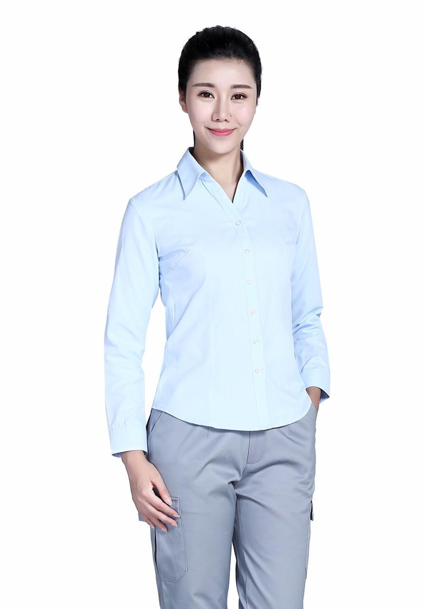 浅蓝女60棉80双织浅蓝长袖衬衫