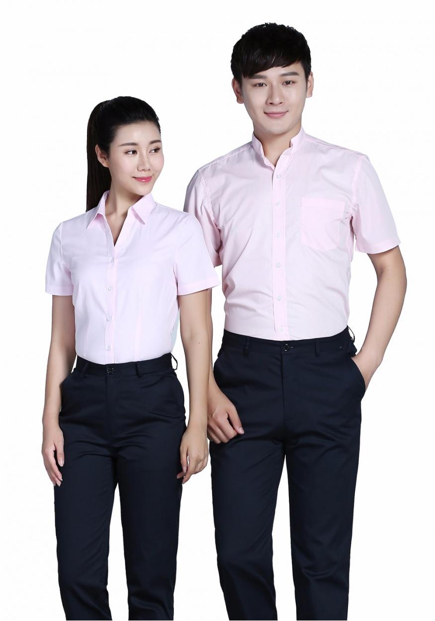 新款男粉色立领商务短袖衬衫
